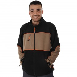 Blouson polaire POKER Beige/noir/orange
